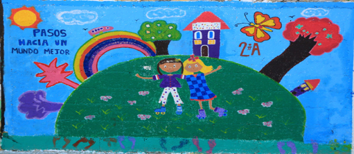Mural painted by children in the Chelem Apoyo program